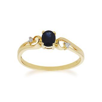 Gemondo 9ct Yellow Gold Sapphire & Diamond Classic Dress Solitaire Ring