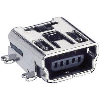 Lumberg 2486 01 USB 2.0 Connector Socket, horizontal mount Mini-Installation coupling Type B,angled, SMT