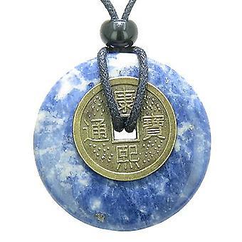 Antikke heldig Coin lykke krefter Amulet Sodalite Gemstone 40mm Donut anheng halskjede
