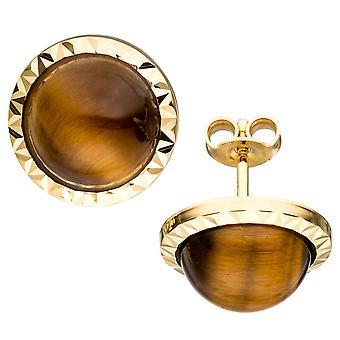 Guld Stud Øreringe omkring 585 guld gul guld 2 Tiger øje brun øreringe guld øreringe