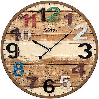 AMS 9539 wall clock quartz analog Brown round antique vintage retro shabby