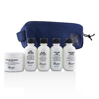 Baxter af Californien Travel startpakke: Ansigt vask + barbering formel + fugtighedscreme + Shave balsam + Shampoo + taske - 5pcs + 1 taske