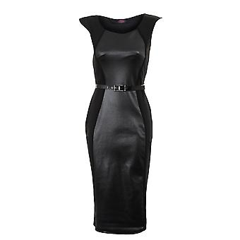 Ladies Sleeveless Wet Look Contrast Knee Length Belted Womens Dress