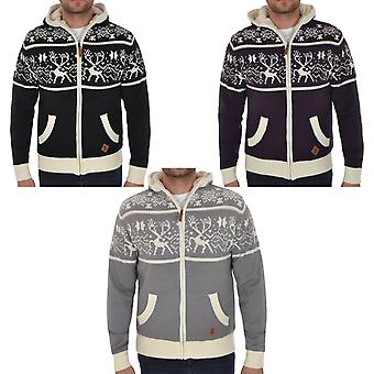 Soul Star Mens Knitted Zip Up Hooded Cardigan Christmas Jumper Sweater Top
