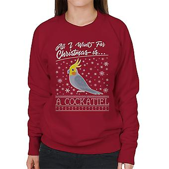 All I Want For Christmas Is A Cockatiel Knit Pattern Women's Sweatshirt
