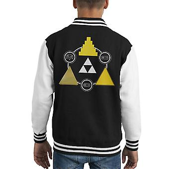 Legend Of Zelda Hero Of Time Triforce Kid's Varsity Jacket