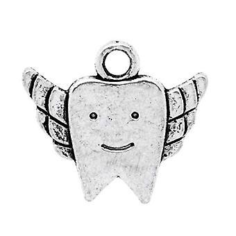Paket 10 x Antik Silber tibetischen 20mm Zahn Charm-Anhänger ZX05640