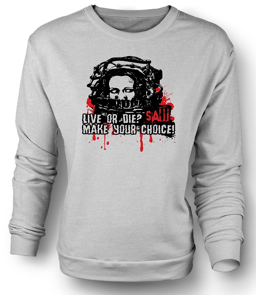 Mens Sweatshirt Saw Live Or Die - Horror - Movie