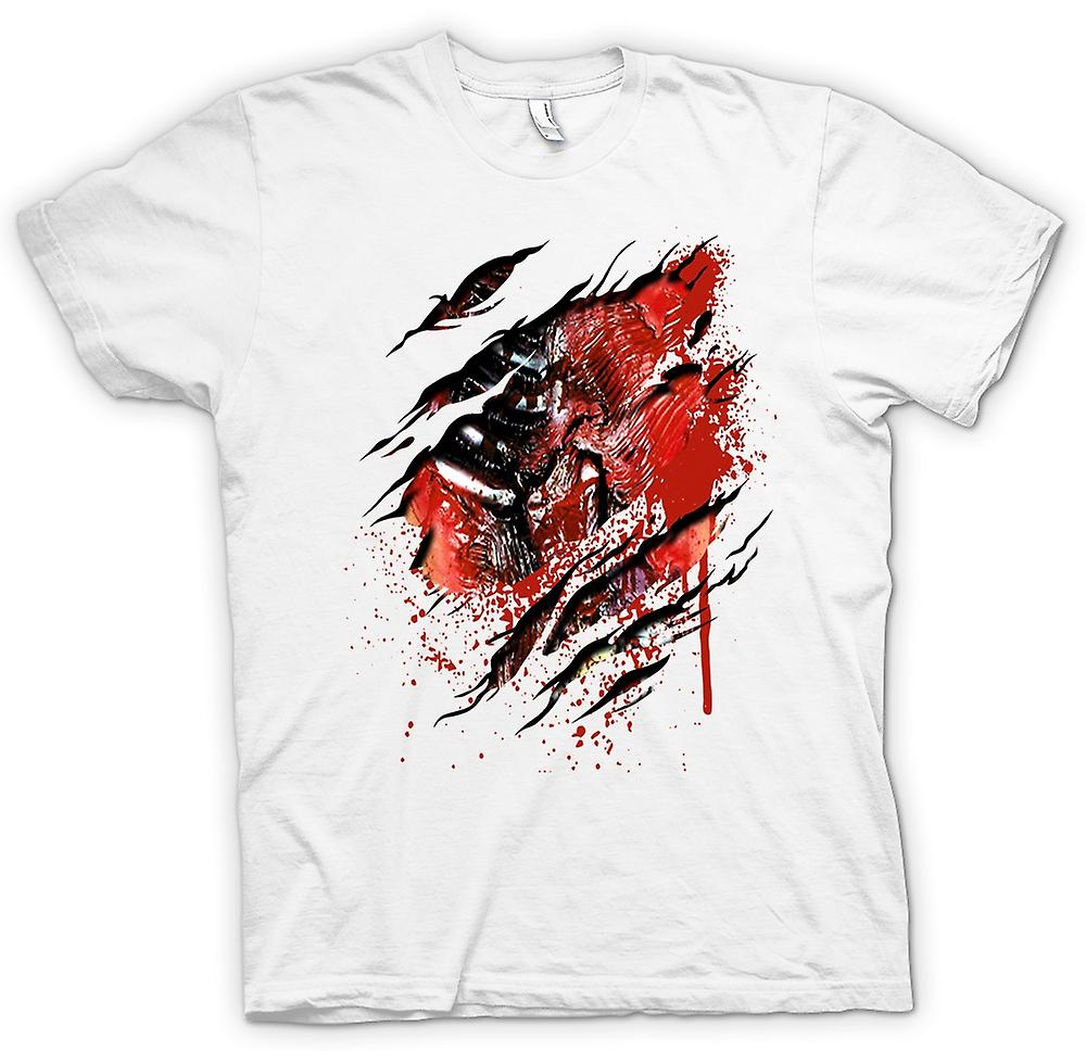 Mens T-shirt-Zombie Walking tot Rippen und Herzen Riss Design