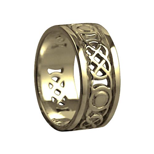18ct Gold 8mm pierced Celtic Wedding Ring Size Q