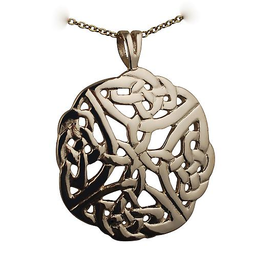 9ct Gold 27mm round Celtic knot design Pendant with a cable Chain 18 inches
