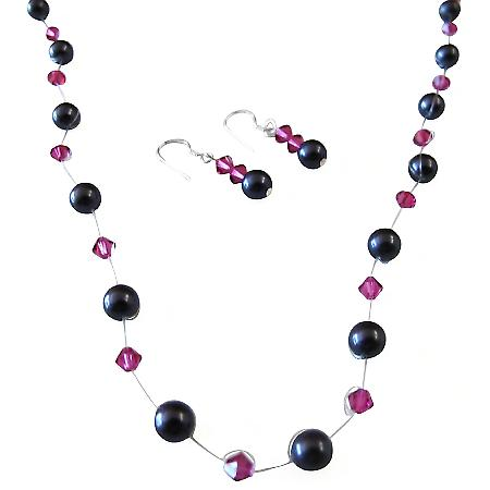 Elegant Bridesmaid Gifts Dark Purple Pearls Fuchsia Crystals Jewelry