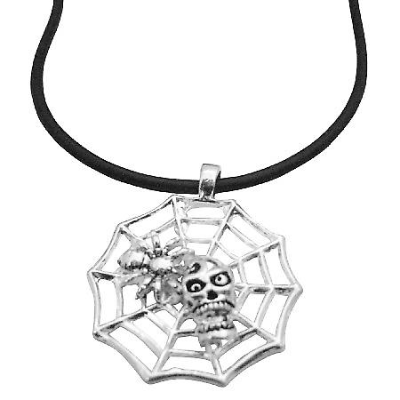 Web Spider Pendant Skull & Flower on The Web Spider Pendant Necklace