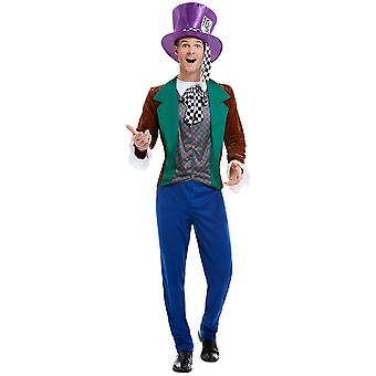 Mens Adults Mad Hatter Fancy Dress Costume Wonderland Fairytale