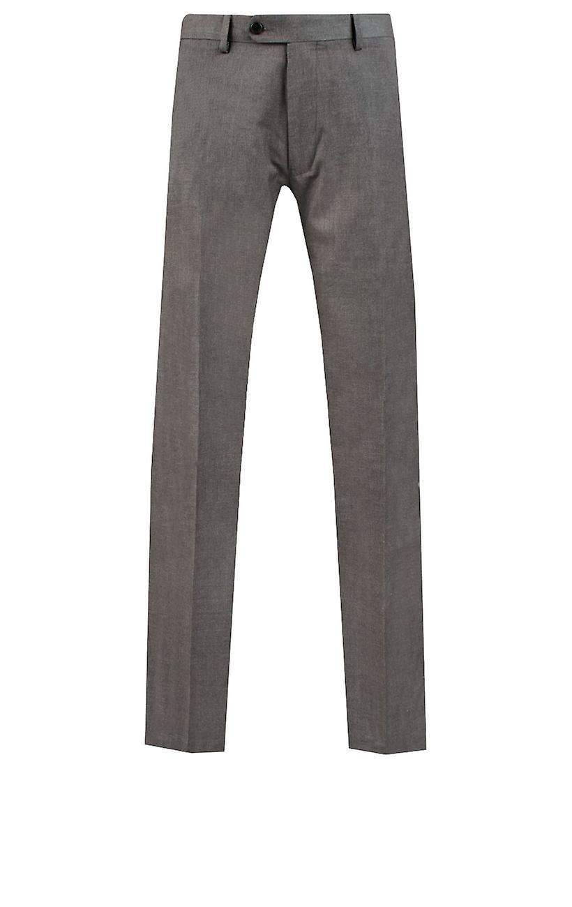 Dobell Mens Light Grey Suit Trousers Slim Fit Travel/Performance