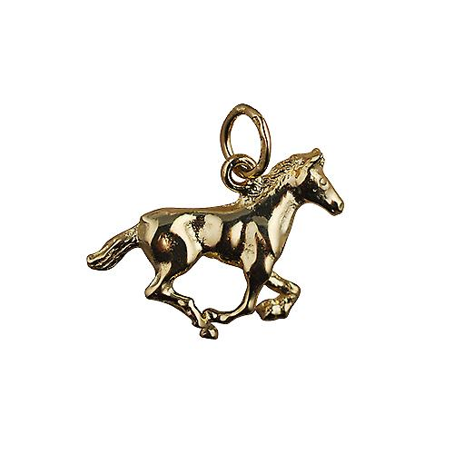 9ct Gold 15x22mm galloping Horse Pendant or Charm