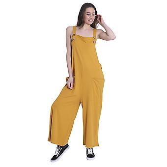 Ladies Loose Fit Cotton Jersey Dungarees - Gold Lightweight One Size Wide Leg Ov