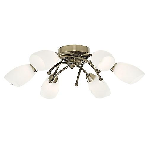 Searchlight 8186-6AB Opera Traditional Brass Ceiling Flush 6 Light With Opal Glass