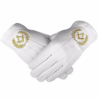 Masonic Cotton Gloves with Machine Embroidery Square Compass Gold