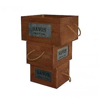 Rebecca meubles Set 3 boîtes à cassette bois rétro brun fruits