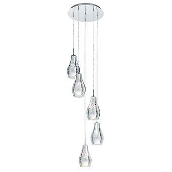 EGLO Alvaredo 5 Drop hänge iriserande krom glas