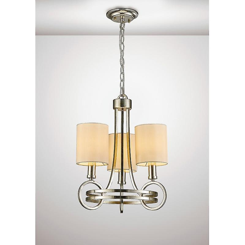 Isabella Pendant With Beige Shade 3 Light E14 Antique argent teak Plated