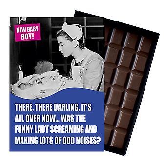 Grappige nieuwe baby boy geboorte cadeau voor pasgeboren moeder boxed chocolade wenskaart aanwezig CDL138