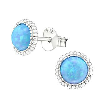 Round - 925 Sterling Silver Opal and Semi Precious Ear Studs - W23626X