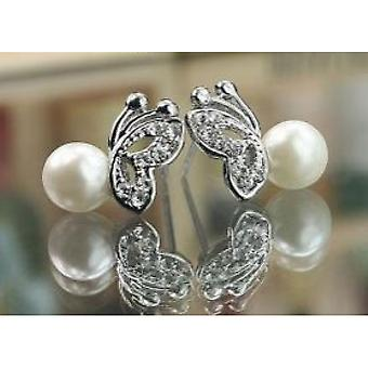 Earrings with beads/butterfly 1 pair (white)
