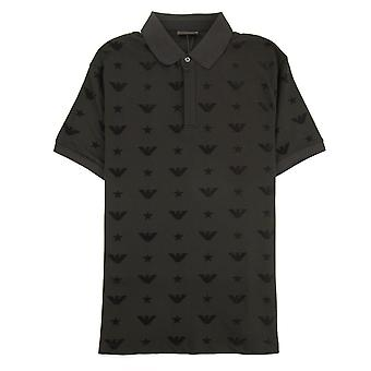 Emporio Armani all over Jacquard bedrukte Polo shirt zwart 999
