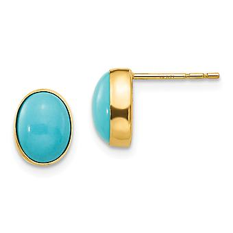 14k Yellow Gold Polished Open back Bezel Set Oval Created Simulated Turquoise Post Earrings - Measures 8x6mm