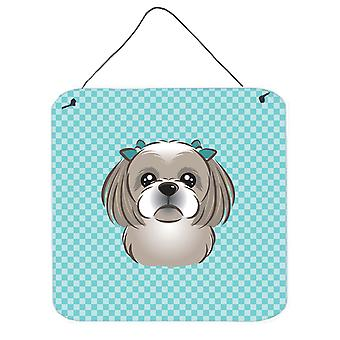 Checkerboard Blue Gray Silver Shih Tzu Wall or Door Hanging Prints BB1188DS66