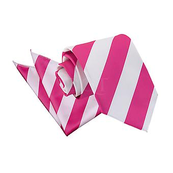 Men's Striped Hot Pink & White Tie 2 pc. Set