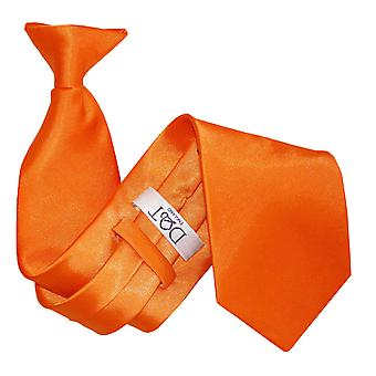 Plain Burnt Orange Satin Clip On Tie