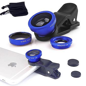 ONX3 HTC Desire 526G+ Dual Sim (Blue) 3 in 1 Phone Camera Lens Kit Fisheye Lens + Wide Angle Lens + Macro Lens with Universal Clip-on 180 Degree For Both Android and iOS Devices
