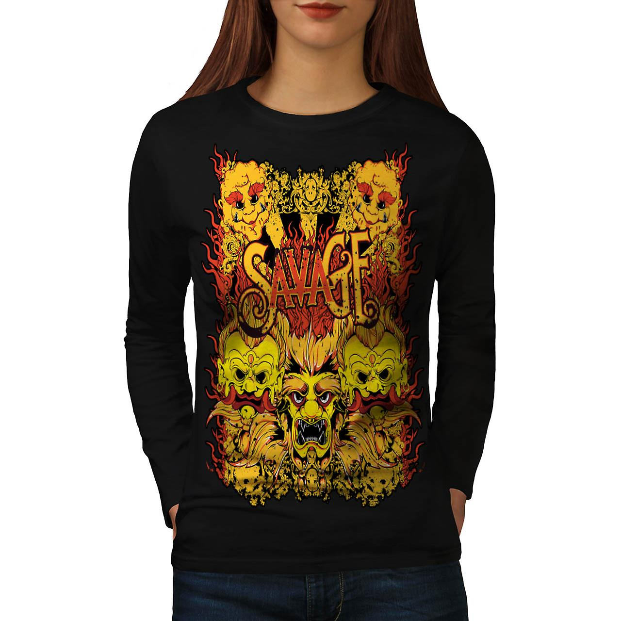 Savage Samurai Mask Asian Parade Women Black Long Sleeve T-shirt | Wellcoda