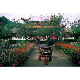 Храм красоты из бамбука деревни Куньмин Китай плакат печати Билл Бахман