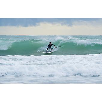 Surfing Bunker Beach Tarifa Spain PosterPrint