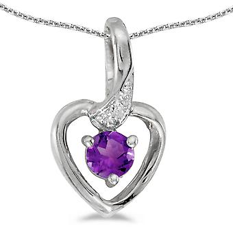 14k White Gold Round Amethyst And Diamond Heart Pendant with 18