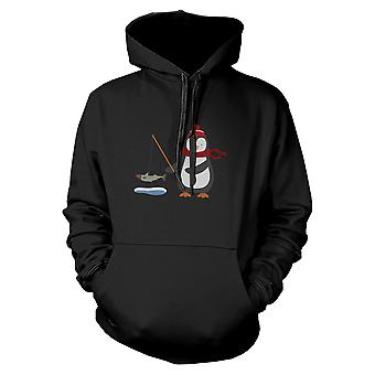 Pingouin pêche Noël Hoodie Sweatshirt graphique impression pull