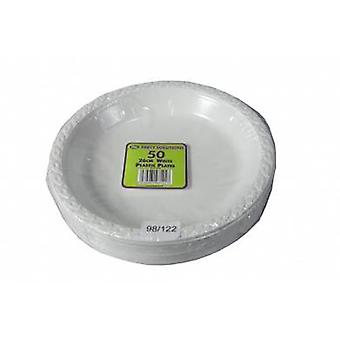 Pack of 50 26cm White Plastic Plates