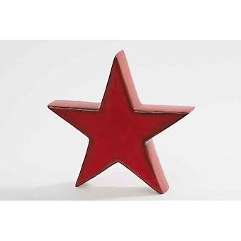 Red Ceramic Xmas Star Chrotmas Tree Decoration 22cm