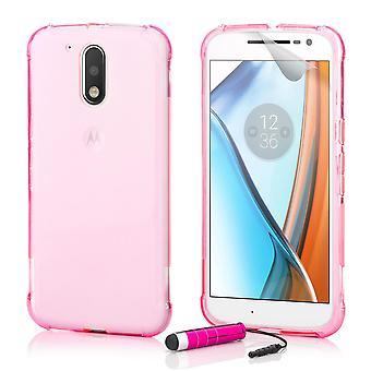 Harte Crystal Gel Case + Stift für Motorola Moto G4 spielen - Hot Pink