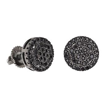 925 sterling silver MICRO PAVE earrings - QUAD 8 mm black