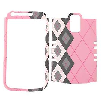 Unlimited Cellular Rocker Snap-On Case for Samsung Galaxy S2 Hercules T989 - Black / White Plaid on Pink