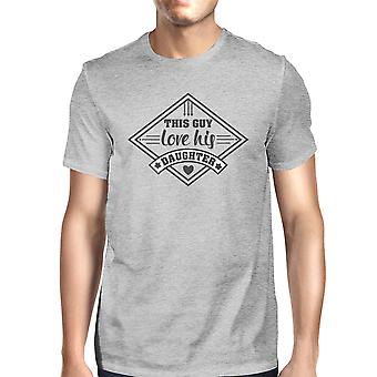 This Guy Love His Daughter Mens Grey Unique Graphic T-Shirt For Dad