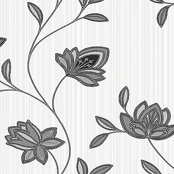 Holden Decor Galileo Black White Floral off white Textured feature wallpaper
