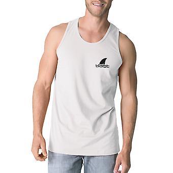 Mini Shark męskie białe bawełniane Top bez rękawów niepowtarzalny Design Tank Top
