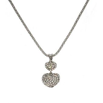 W.A.T Swarovski  Crystal Clear  Double Heart Pendant