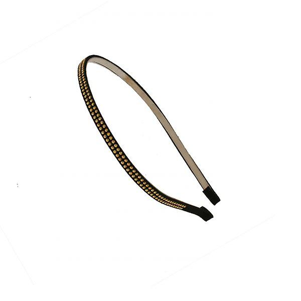 W.A.T Black Faux Suede And Brass Stud Hair Band